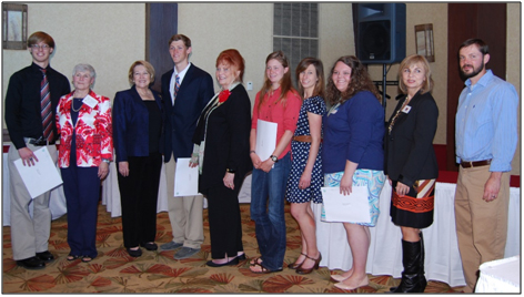 Scholarship recipients pictured at their Luncheon at Convention: Joshua Jones, Nell Copeland, (Scholarship Chairman) Trece Chancellor (GCA President), Tristan Yates, Linda Nelson (NGC President), Meghan Reid, Emily Campbell, Lilly Oaks, Sharon Tatum (Development Office, Forestry Department) Dr. James (Jay) Speirs (Associate Professor, Horticulture Department).
