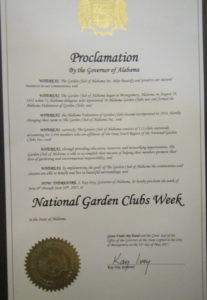 Garden Club of Alabama Governor's Proclamation